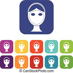 Face marked out for cosmetic surgery icons set vector...