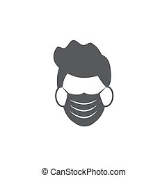 Face mask icon on white background