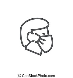 Face mask line icon on white background