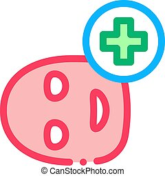 Face Mask Medical Cross Icon Outline Illustration