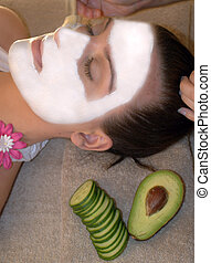 Face mask - woman at SPA having a face mask