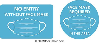 Face mask required sign symbols rules vector