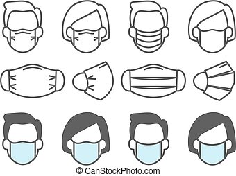 Face mask use. People medical masks icons respiratory ...