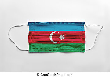 Face mask with Azerbaijan flag printed, on white background, isolated