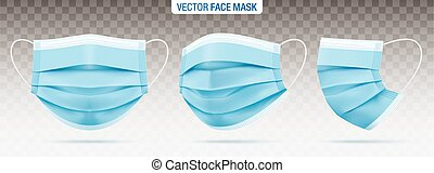 Face masks isolated on a transparent background. - 3 ply ...