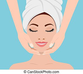 Spa skin and body care. - Face massage. Spa skin and body...