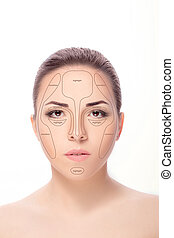 face., mujer, contouring.make, arriba