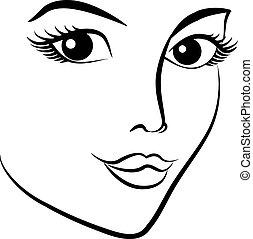 face., mulher, moda, bonito