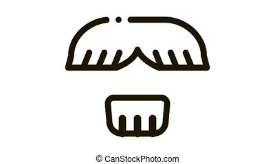 Face Mustache Chin Hair Icon Animation. black Face Mustache Chin Hair animated icon on white background
