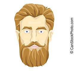 Face of a bearded man. Vector portrait illustration, isolated on white background.
