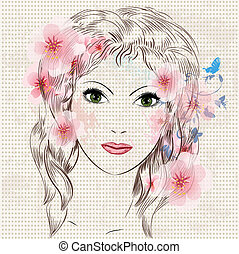 Face of a beautiful fashion girl in flowers