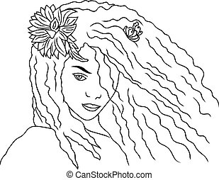Face of a beautiful girl silhouette, illustration, a young woman with long hair.
