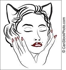 Face of a beautiful woman-cat