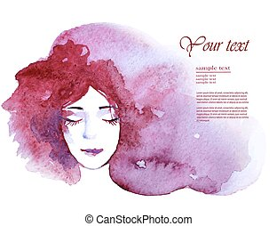 face of a beautiful young woman with long hair, watercolor