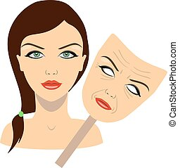 face of a girl and mask with aged face. concept of rejuvenation. vector illustration