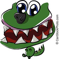 Face of a green baby dinosaur with its mouth wide opened vector color drawing or illustration