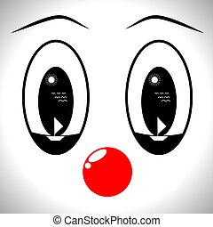 Face of a man in a mask of a clown with different emotions, ...