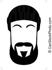 face of a man with beard and mustache hand drawn vector
