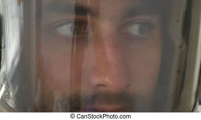 Face of a Pilot - Face of a pilot being attentive and...
