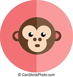 Face of a surprised monkey in a pink background vector color drawing or illustration