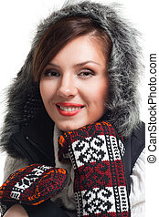 Face of a woman smile wearing winter clothes