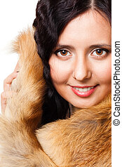 Face of a woman with fur represent tenderness and care,...