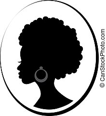 Face of African black woman in profile
