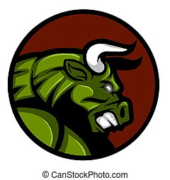face of an angry and threatening bull illustration