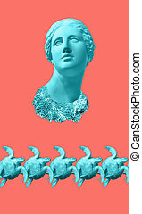 Face of ancient statue and sea green turtle on a coral color background. Art, adventure, underwater archeology concept.