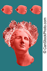 Face of ancient statue, coral and sea fish on a green background. Art, adventure, underwater archeology concept.