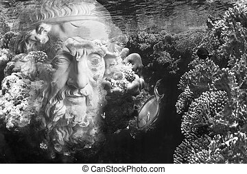 Face of ancient statue on a underwater background with corals and fish. Art, adventure, underwater archeology concept.