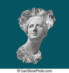 Face of ancient statue with a coral crown. Teal color background. Art, adventure, underwater archeology concept.