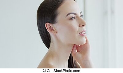 Face of attractive female - Side view of face of gorgeous ...
