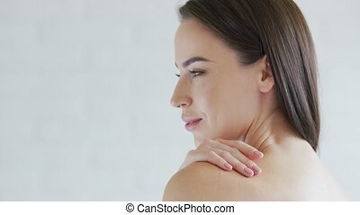 Face of attractive female - Side view of face of gorgeous...