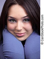 Face of beautiful cute young woman