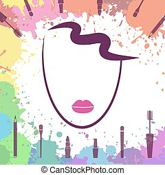 Face of beautiful girl. Fashion icon. Makeup artist. Logo template. Make up elements. Woman face