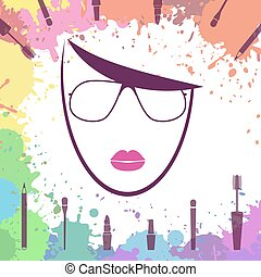 Face of beautiful girl. Fashion icon. Makeup artist. Logo template. Woman face