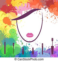 Face of beautiful girl. Fashion icon. Makeup artist. Logo template. Woman face. Make up elements