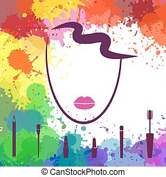 Face of beautiful girl. Logo template. Makeup artist. Fashion icon. Woman face. Make up elements