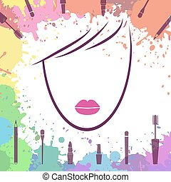 Face of beautiful girl. Logo template. Makeup artist. Fashion icon. Woman face