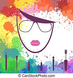 Face of beautiful girl. Makeup artist. Fashion icon. Woman face. Logo template