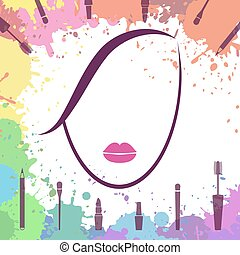 Face of beautiful girl. Makeup artist. Fashion icon. Woman face. Make up elements. Logo template