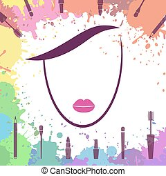 Face of beautiful girl. Makeup artist. Logo template. Woman face. Fashion icon. Make up elements