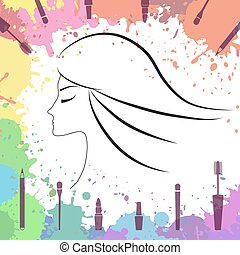 Face of beautiful girl. Makeup artist. Logo template. Woman face. Fashion icons