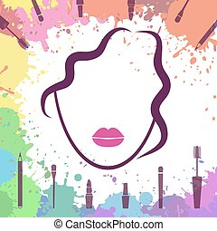 Face of beautiful girl. Makeup artist. Fashion icon. Make up elements. Logo template. Woman face