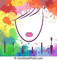 Face of beautiful girl. Makeup artist. Fashion icon. Logo template. Woman face