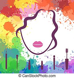 Face of beautiful girl. Makeup artist. Fashion icon. Woman face. Logo template. Make up elements