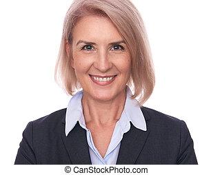 Senior smiling businesswoman. Isolated