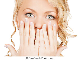 face of beautiful woman covering her mouth - speak no evil...
