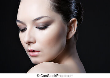 face of beautiful woman with make-up